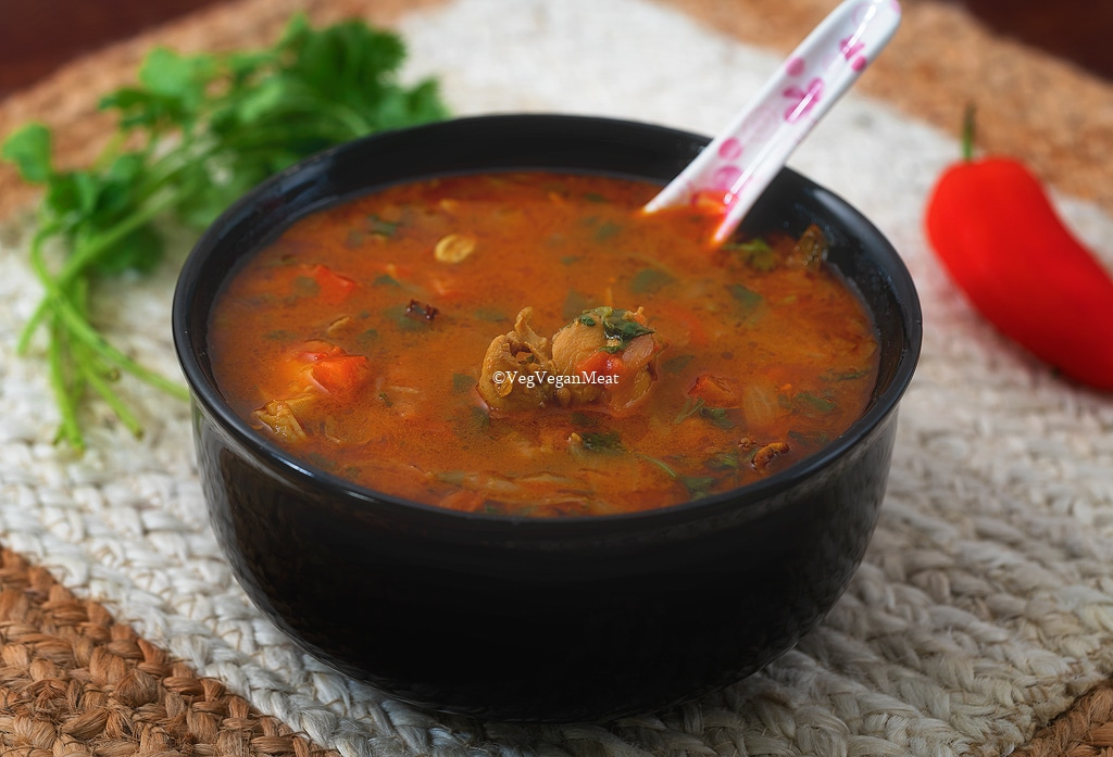 Final output of chicken soup/ rasam or kozhi rasam