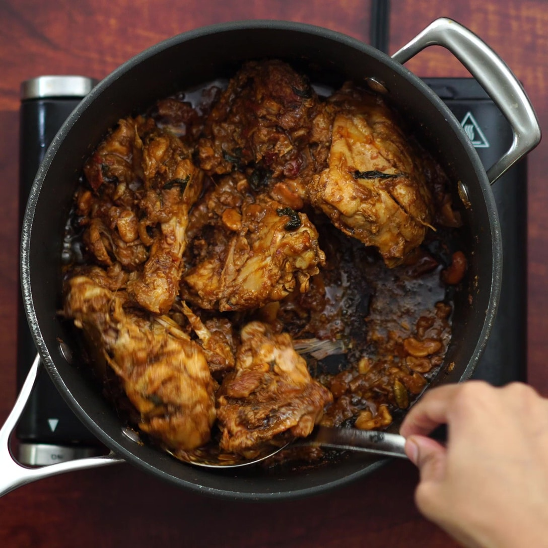 chicken turns reddish brown color