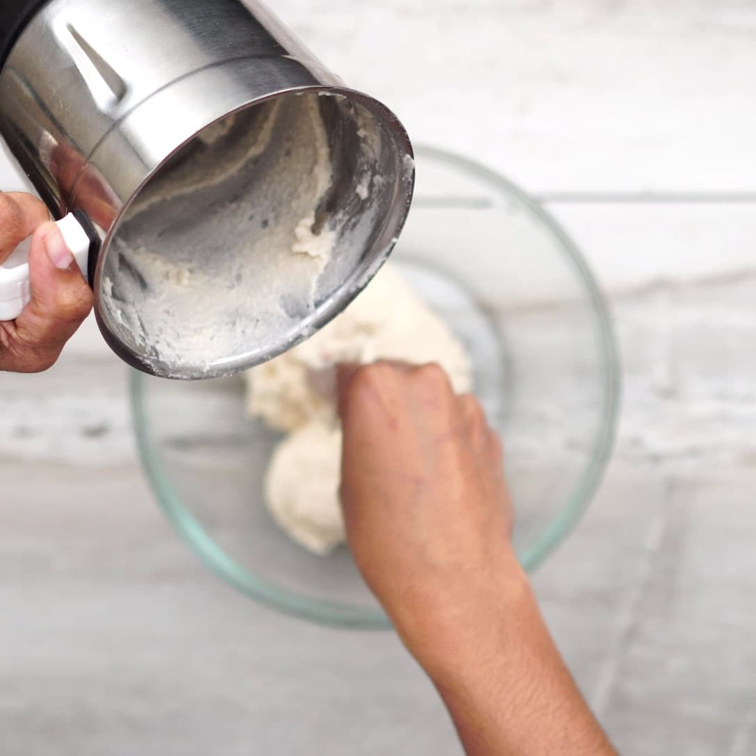 Transferring batter to a bowl