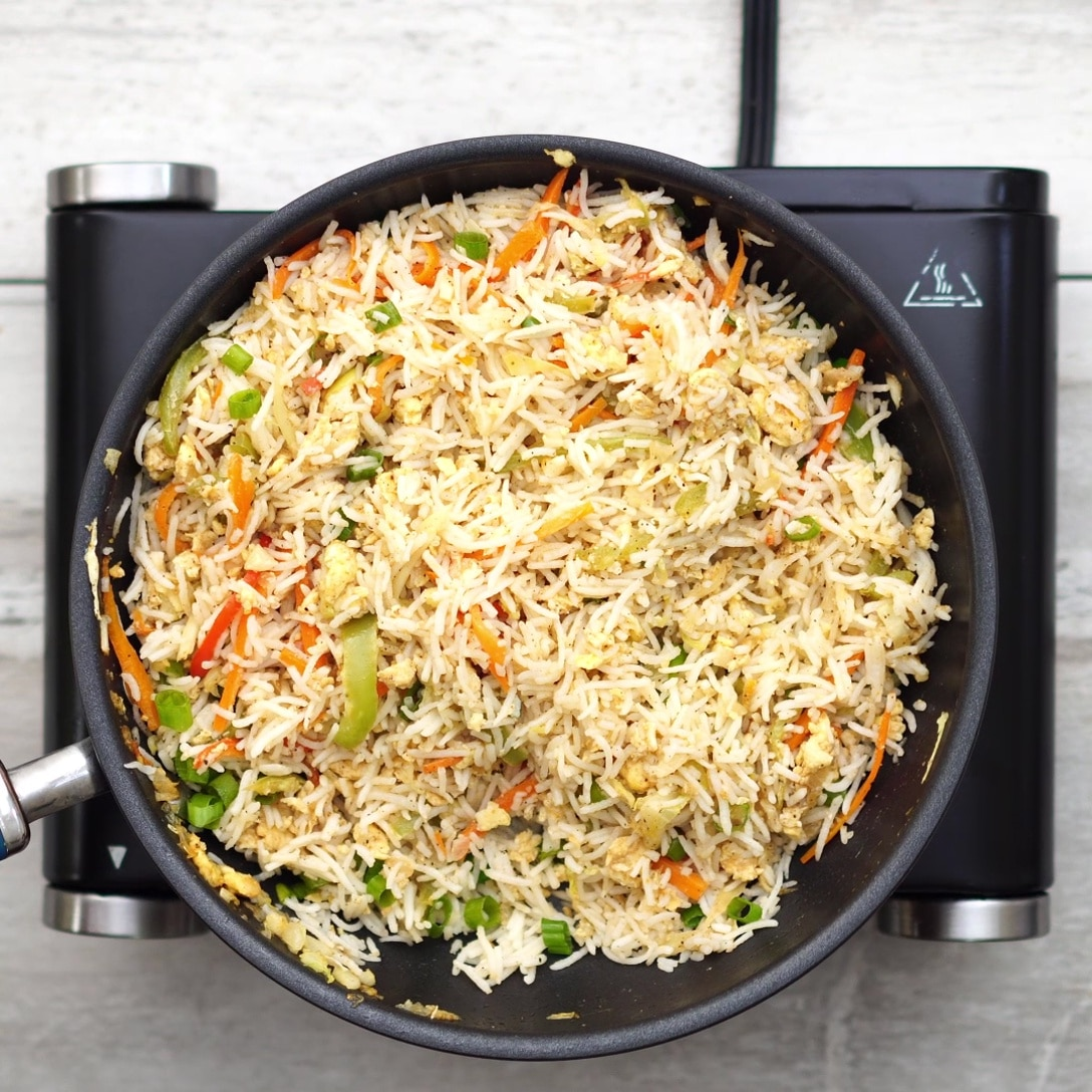 final output of vegetable egg fried rice