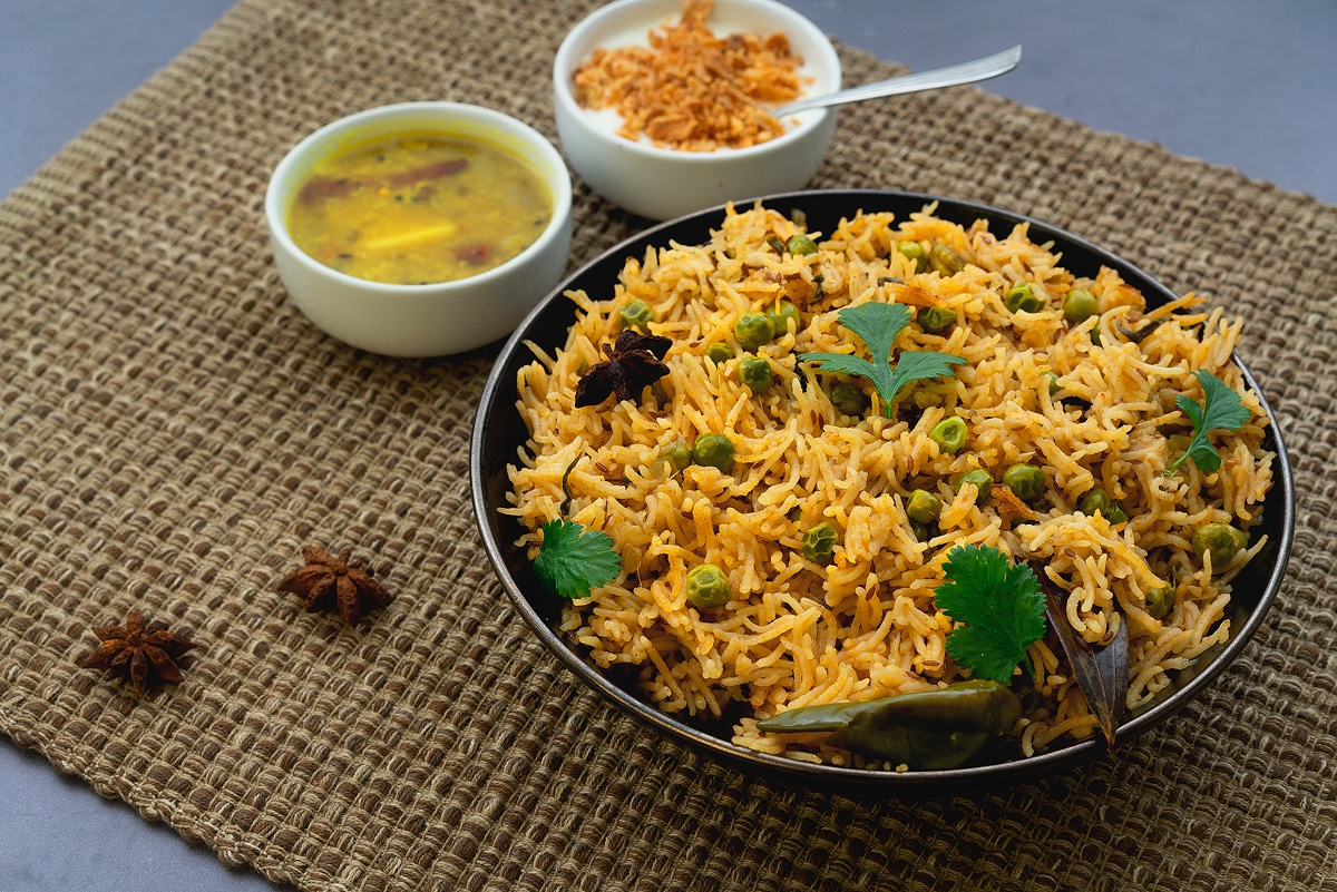 output matar pulao/peas pulao prepared in pressure cooker