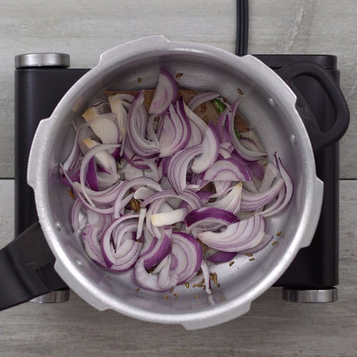 Adding onion and saute well