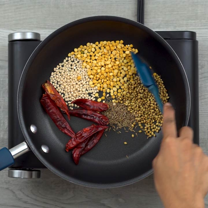 roasting Indian spices
