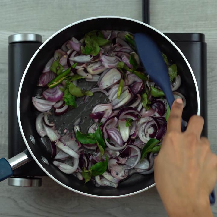 sauting onions, curry leaves to soft
