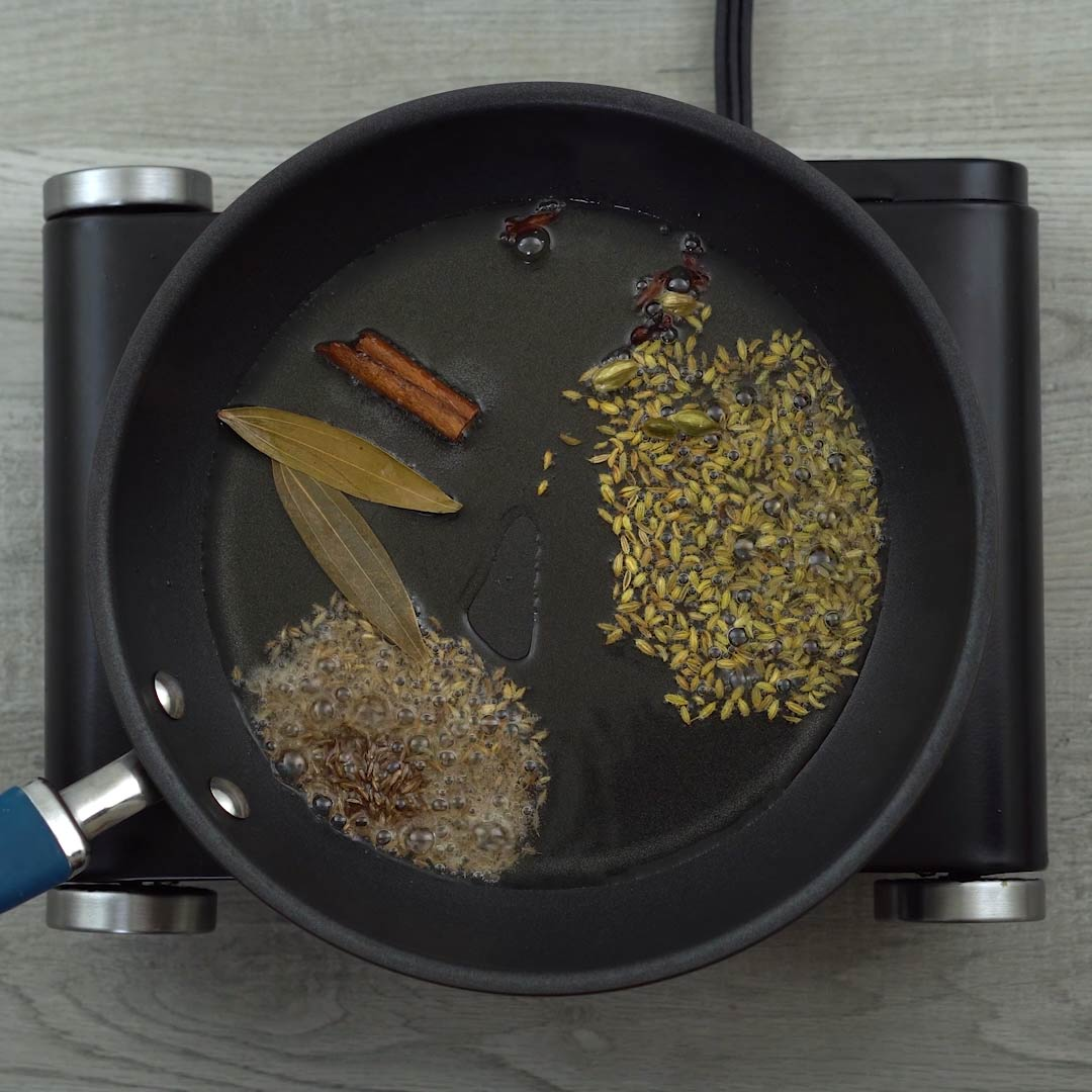 tempering whole indaian spices
