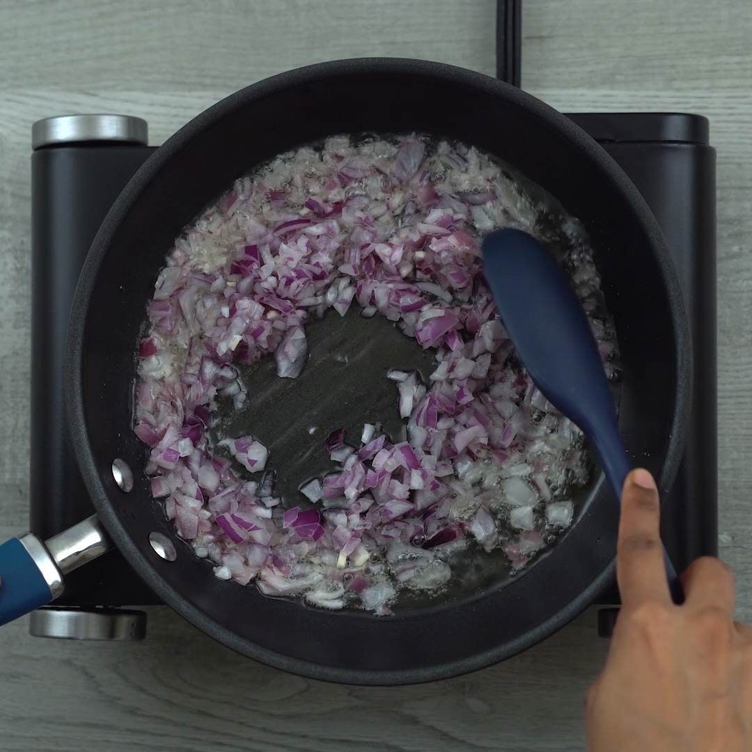 sauting onions in a pan