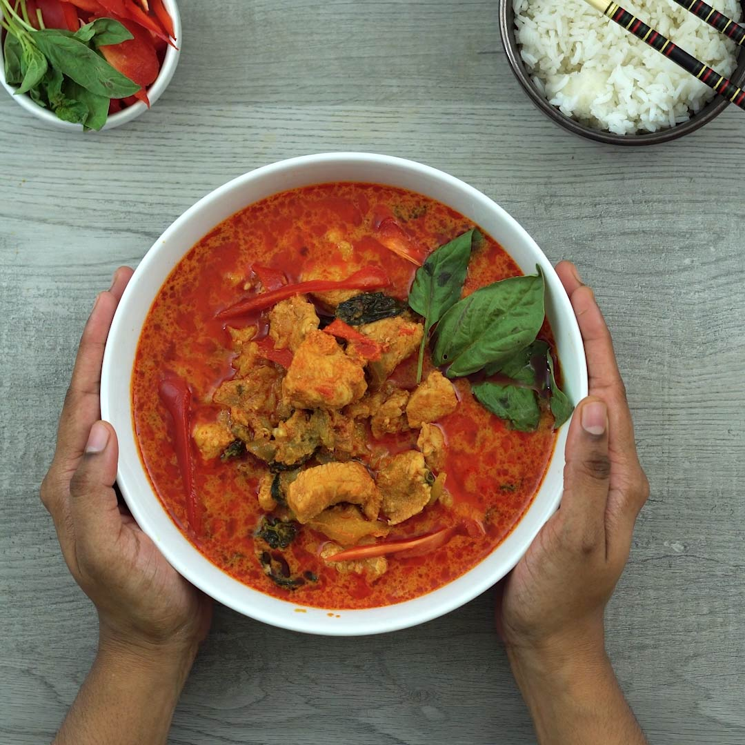 serving Thai Panang chicken curry