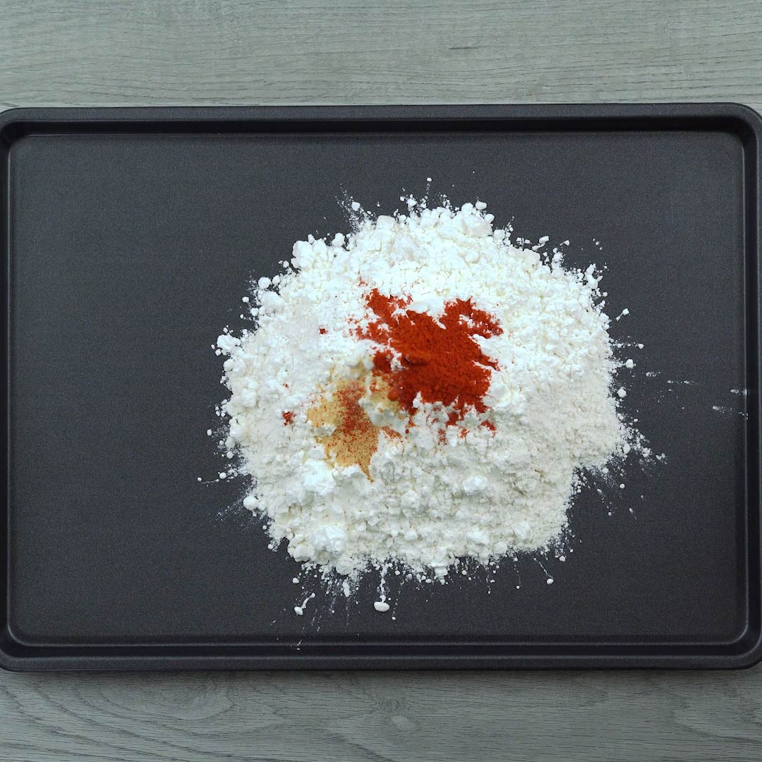flour and spices in a tray
