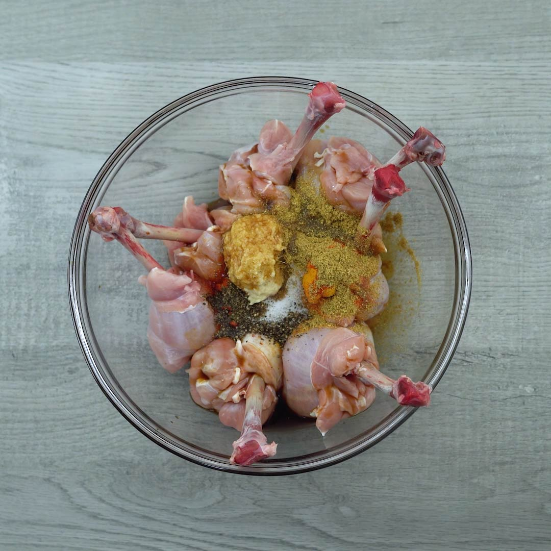 spices are added to chicken lollipop