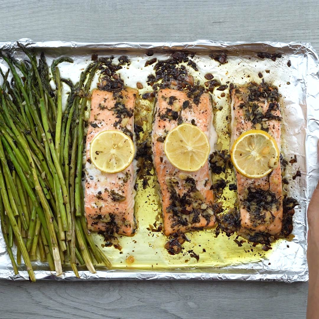 Garlic Butter Baked Salmon in a tray