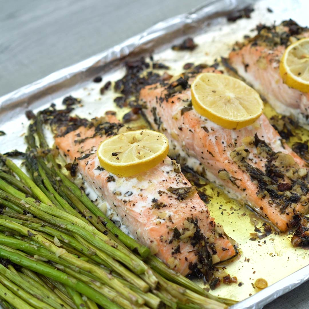 Garlic Butter Baked Salmon is served