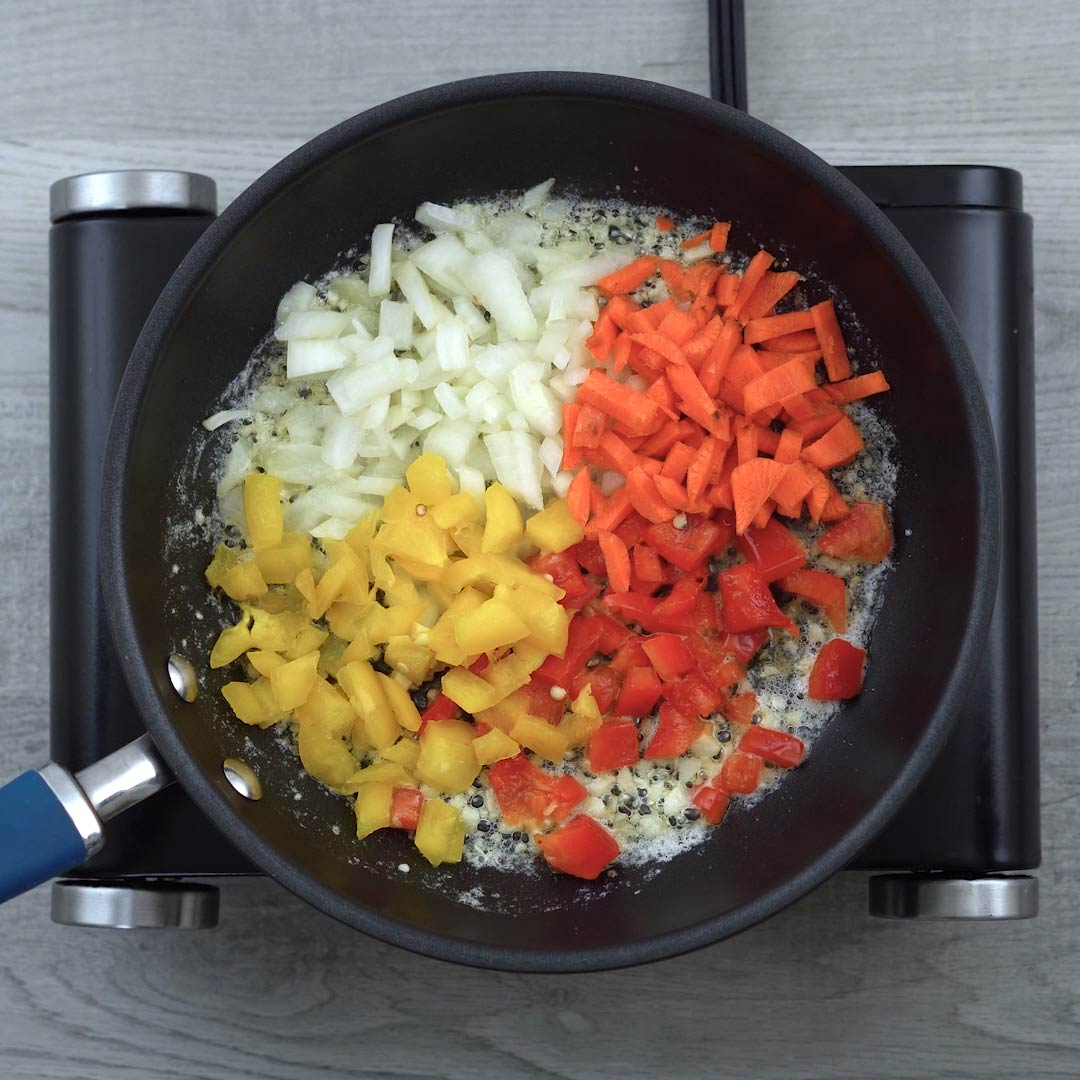 Veggies added to butter