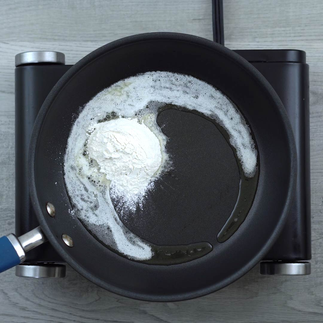 All purpose flour is added to butter
