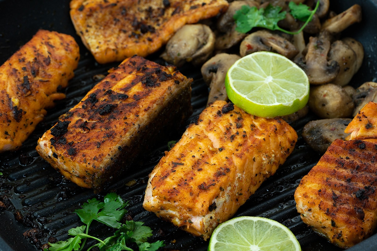 Grilled Salmon in a pan