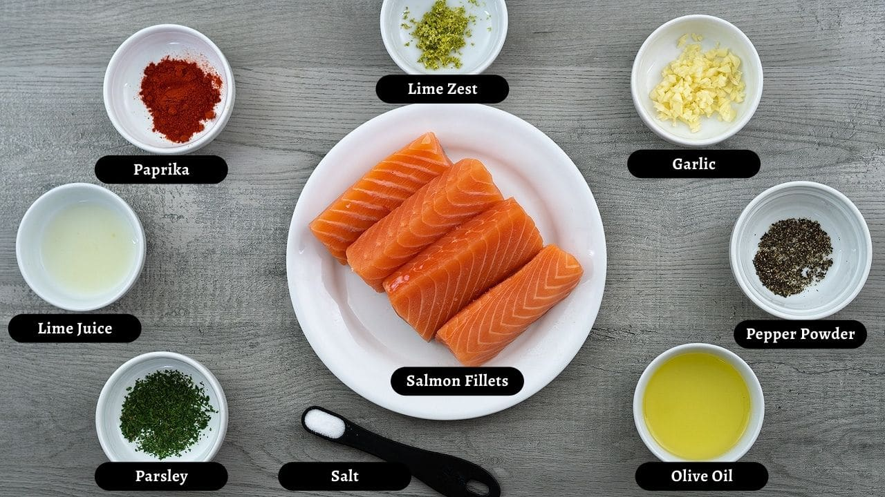 Grilled Salmon Ingredients in a plate