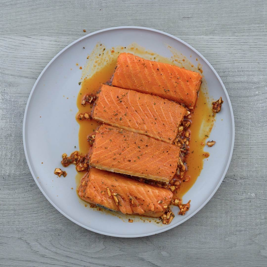marinated salmon is rest in the plate