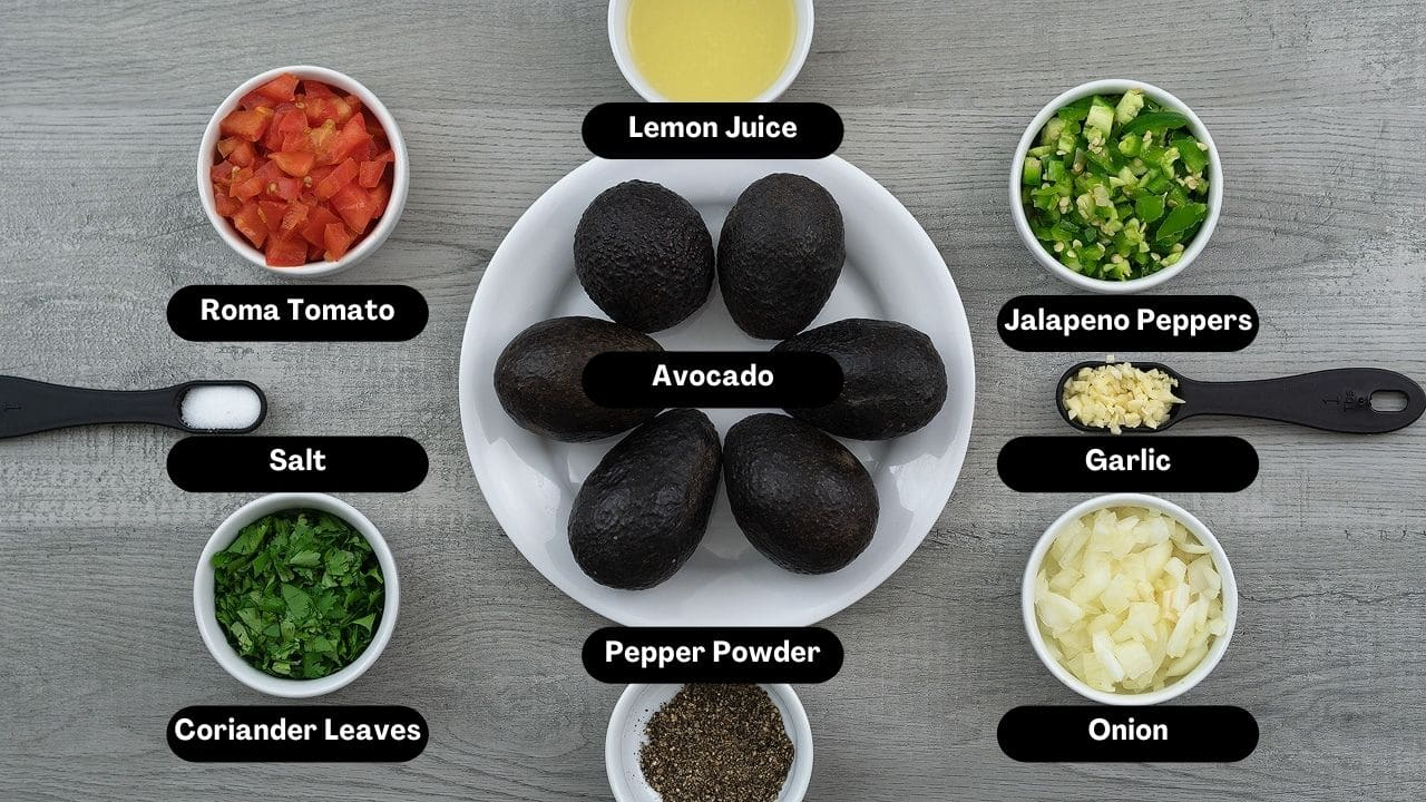 Guacamole Ingredients in a table