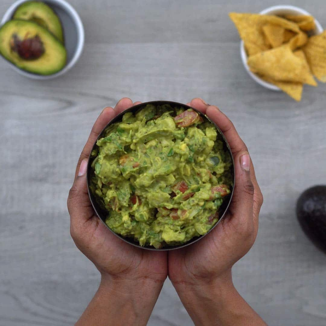 healthy and simple Guacamole in a bowl